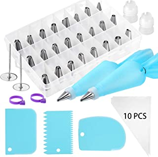 46 Pcs Cake Decorating Supplies Kits Stainless Icing Tips, Cake Smoother Scrapers, Disposable Bags, Pastry Reusable Bags, Couplers, Flower Nails and Piping Bag Ties