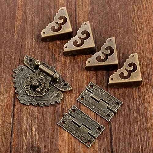 L-Yune,bolt 1set Antique Box Latch Hasp Toggle Buckle 2Pcs Cabinet Hinges 4Pcs Corner Decorative Protectors For Jewelry Wooden Box Hardware (Size : 35 * 23mm)