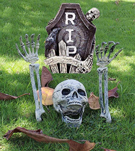 Scary Skull and Hands Skeleton, Realistic Skeleton Lawn Stakes Halloween Decorations Event Party Supplies, Halloween Graveyard Décor
