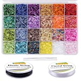 EuTengHao 9600pcs Tube Beads Kit Glass Bugle Seed Beads Small Craft Beads for DIY Bracelet Necklaces Crafting Jewelry Making Supplies with Two Crystal String (7mm, 400 Per Color, 24 Colors)
