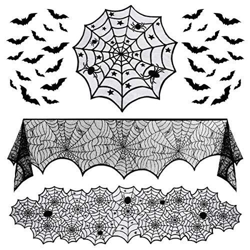 Hemoton Weich Langlebig Exquisite Halloween Dekoration Set Party Wohnzimmer Esszimmer Kamin Schal Kamin Mantel Spinnennetz Tischläufer Spitze Tischdecke