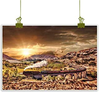 Mannwarehouse Wizard Abstract Painting Wizard School Express Famous Train Landscape Glenfinnan Railway Viaduct Scotland Sunset Natural Art 32