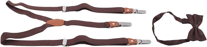 LeeZAKA Mens Adjustable Braces Suspenders Y-back Braces Brace Bow Tie Set