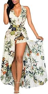 Floral Floor Dress Women Summer V Neck Split Flowy Party Jumpsuit Playsuit Beach Long Maxi Dress