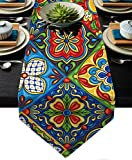 Mexican Talavera Ceramic Tile Pattern Linen Table Runner Dresser Scarves Ethnic Folk Ornament for Home Decoration and Everyday Use (Ceramic Tile Pattern, 13 X 72 Inch)