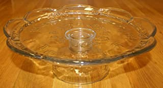 Anchor Hocking Savannah Clear Floral Glass Scalloped Pedestal Footed Cake Plate