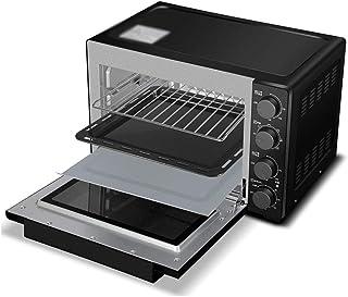 FUDIV Inicio Horno eléctrico Pan Horneado Control de Temperatura Independiente 32L Capacidad 1600 vatios, Horno Multifuncional Negro