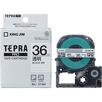 KING JIM PROテ-プカ-トリッジ 透明ラベル 黒文字ST36K 36mm