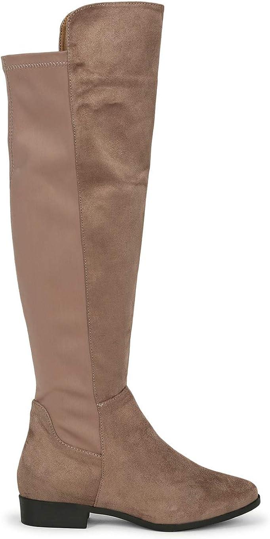 Alrisco Women Elastane Back Panel Flat Knee High Boot SC98 - Taupe Mix Media (Size: 8.5)