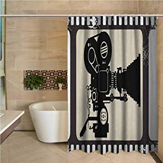 Lohebhuic Movie Theater 3D Printed Shower Curtain Movie Frame Pattern with Silhouette of Movie Reels in a Projector Hotel Quality Machine Washable W78 x L70 Inch Dark Taupe Beige Black