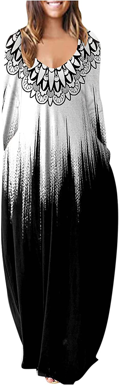 Hemlock Women Long Sleeve Dress Long Printed Maxi Dresses V Neck Plus Size Dress with Pockets