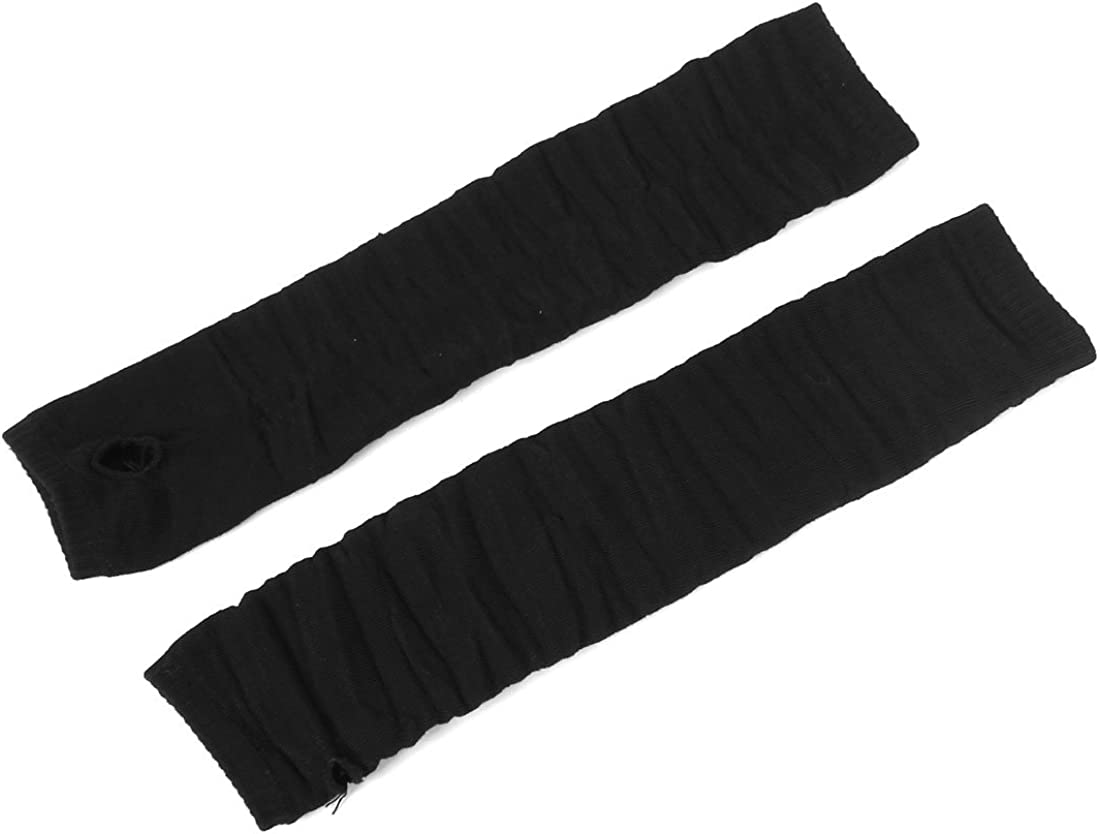 Allegra K Elastic Ribbed Thumbhole Black Fingerless Long Gloves Arm Warmer for Women Men