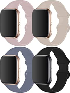 RUOQINI 4 Pack Compatible with Apple Watch Band 38mm 40mm,Sport Silicone Soft Replacement Band Compatible for Apple Watch ...