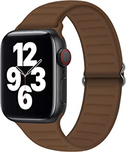 JuQBanke Adjustable Stretchy Silicone Solo Loop Bands Compatible with Apple Watch 38mm 40mm 42mm 44mm, Soft Sport Elastics Women Men Stretch Strap Compatible with iWatch Series 6/5/4/3/2/1 SE