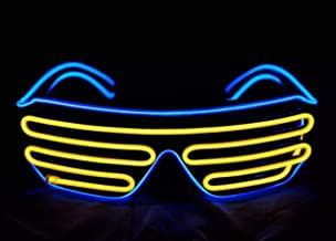 MerryBright Fashionable Light Up EL Wire Neon Shutter Glasses Flashing LED Rave Sunglasses, Parties Decorations (Multicolored)