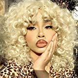 Short Loose Curly Wigs Heat Resistant Fiber Fluffy Weave Curl Afro Synthetic Hair Wig Natural Daily Half Wigs for Black Women and White Women Breathable Rose Net Wigs (#613 Blonde)