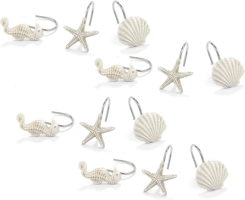 Ocean Shower Many popular brands Curtain Hooks Seahorse Cheap 12 Starfish Seashell and