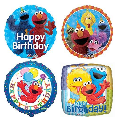 Sesame Street Birthday Party Balloons - 4 Happy Birthday Balloon Decorations For A Sesame Street Cookie Monster, Elmo, Big Bird, Abby Cadabby, and Oscar the Grouch Bouquet Banner