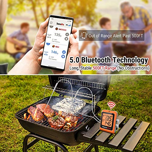 ThermoPro 500ft Long Range Bluetooth Meat Thermometer for Grilling and Smoking with Dual Probe Smart Wireless BBQ Smoker Grill Thermometer, Rechargeable