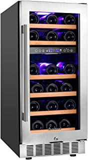 ?Upgraded?Aobosi 15 Inch Wine Cooler, 28 Bottle Dual Zone Wine Refrigerator with Stainless Steel Tempered Glass Door, Temp Memory Function, Fit Champagne Bottles, Freestanding and Built-in Style