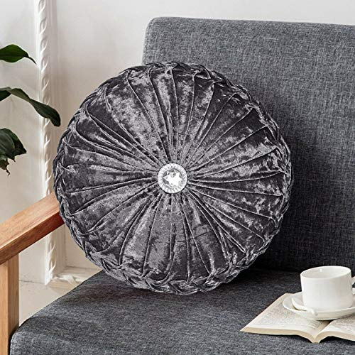 Diamond Velvet Cushion Stitched Small Filled Sofa Bed Throw Round Cushion Covers For Bed Decor Grey - 35 X 35 Cm 14' X 14'