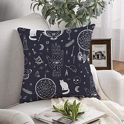 Funda de almohada acogedora botella tatuaje luna negro noche dibujo gráfico Doodle Eye Blue Potion Attribute Hand Drawn Poison Throw Funda de cojín para sofá decoración del hogar, 45,7 x 45,7 cm