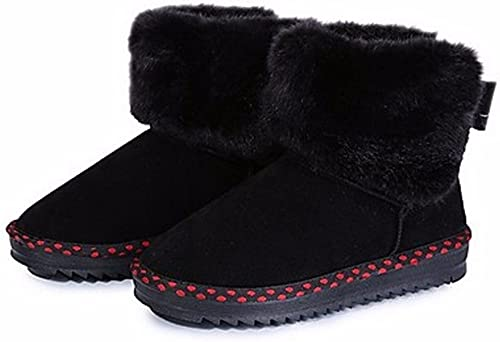 ZHUDJ schuhe De damen Stiefel Stiefel De Nieve Caída Chunky Talón Puntera rotonda Bowknot For Casual grau Oscuro schwarz Blau