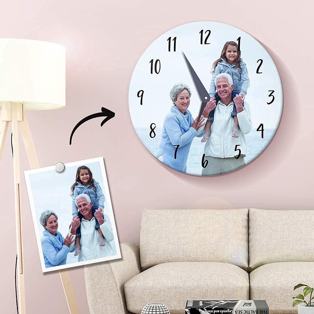 Relojo Pared Marco Personalizado Fotos Moderno Decoración Hogar Fotos Regalo para Familiares, Amigos