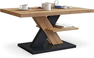 Viosimc Table Basse de Salon Chêne et Noir avec étagère, Table Centrale Blanche Moderne et élégante pour thé et Le café. D...