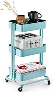 Lagute Solide 3-Tier Utility Cart with Wheels, Heavy Duty Metal Mesh Rolling Mobile Storage Organizer for Office Home Kitchen Bedroom, Teal