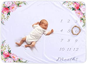Baby Monthly Milestone Blanket For Girl Boy Floral Deer Horn Frame Newborn Photo Prop Background Not Wrinkle Or Fade