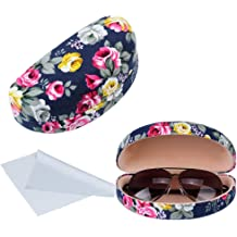 Oversized Sunglasses Case with Fashionable NEW Youk Printed Case For Women Durable Protective Holder Hard Shell for Reading Glasses With Clean Cloth