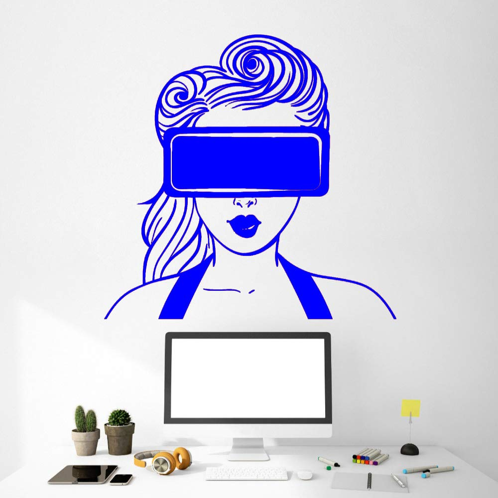 zqyjhkou Calcomanía Realidad Virtual VR Headset Girl Art ...