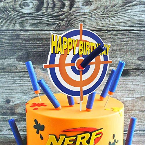 GmakCeder Happy Birthday Nerf Cake Topper