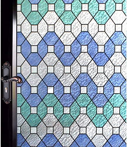 DUOFIRE 窓 めかくしシート台風対策 飛散防止 窓ガラス 目隠しシート 窓用フィルム 窓ガラスフィルム ステンドグラス シール はがせる 断熱 遮光 結露防止 紫外線UVカット 浴室 風呂 玄関目隠し 水で貼る 貼り直し可能 おしゃれ幾何ひし形 (0.9M X 2M) D95-Y125