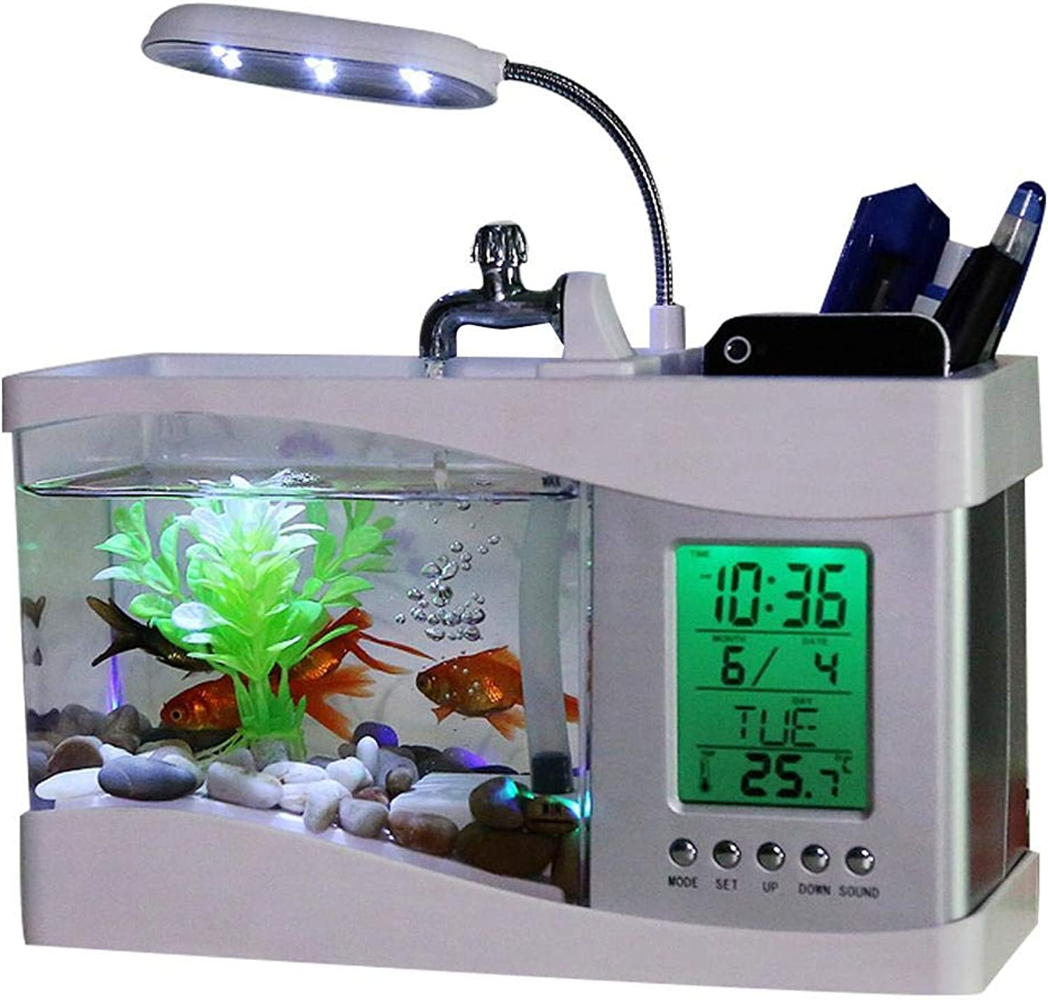 Fish Vegetables Water Garden Ecological Acrylic Fish Tank Grows Plants with Led Clock Gardening Gifts Mini Aquaponic Ecosystem Symbiotic Plants