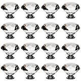 16Pcs 40mm Crystal Glass Furniture Door Knobs Diamond Shape Cabinet Pull Handle for Wardrobe Drawer Cupboard