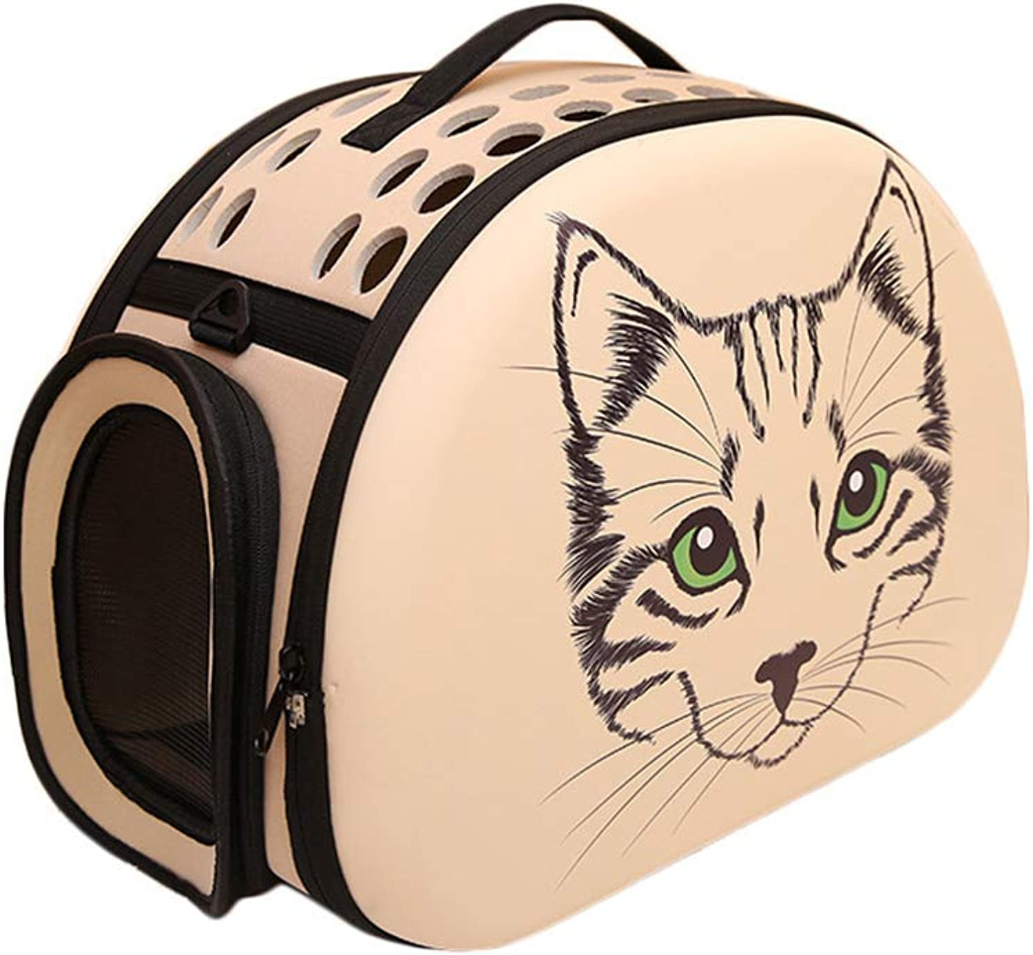 Foldable Pet Dog Cat Carrier Cage Foldable Travel Outdoor Shoulder Bag (Apricot Big face cat Pattern)