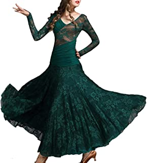 ZYLL Standard Tanzkleider Flamenco-Kleid Gesellschaftstanzkleider Rotes Gesellschaftskleid Tango Modern Dance Kostüme Rumba
