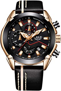 LIGE Mens Watches Chronograph Waterproof Sports Analog Quartz Watch