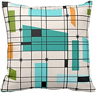 Emvency Throw Pillow Cover Teal Mid Retro Grid and Orange Century Decorative Pillow Case Home Decor Square 18 x 18 Inch Pillowcase