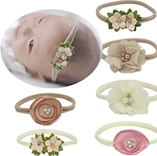 Baby Headbands Nylon Band with Hand Sewing Beads Flower 6 Pack