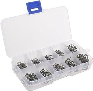 WINOMO Uma caixa com 500 peças de 10 tamanhos diferentes anzóis anzóis anzóis
