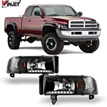 Winjet Headlights Compatible With 1994-2001 Dodge Ram 1500 Factory Style Black Clear Headlamp Assembly Kit Driving Light   1995 1996 1997 1998 1999 2000 2001