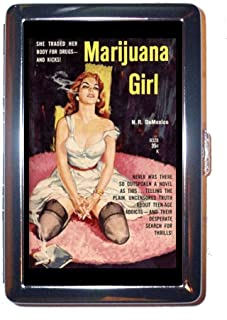 Marijuana Girl Classic Lowbrow Pulp Art Stainless Steel ID or Cigarettes Case (King Size or 100mm)