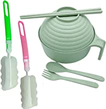 Green wheat straw bowl set, large degradable instant noodle bowl, noodle bowl with lid and handle, free spoon, chopsticks,...