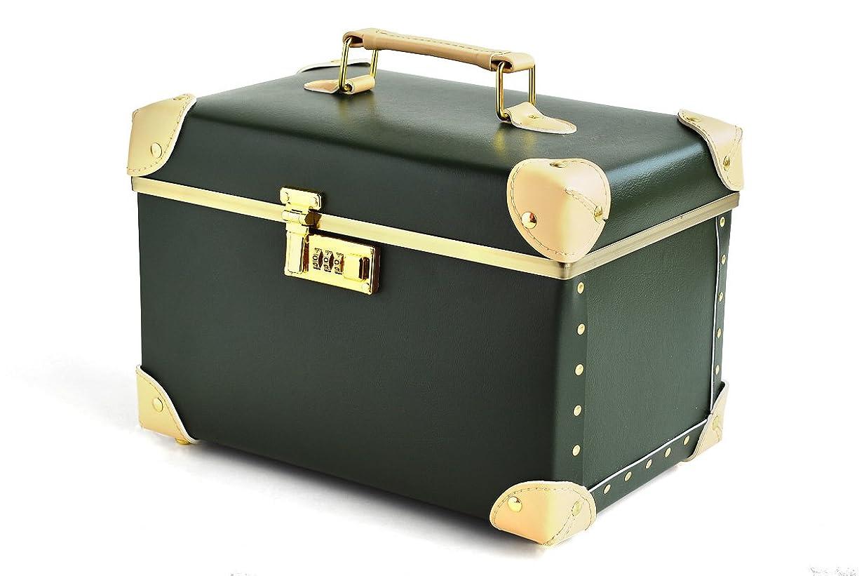 仕えるずんぐりしたアドバイスコスメボックス 化粧収納ボックス 【CBX】 トレンケース 化粧雑貨 ポーチ メイクボックス 鏡付き ダイヤルロック付き (グリーン)