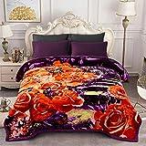 JML Heavy Fleece Blanket, Plush Velvet Korean Style Mink Blanket King Size 85'x95', Two Ply Reversible Raschel Blanket - Silky Soft Wrinkle and Fade Resistant Thick Bed Warm Blanket, Purple Foral