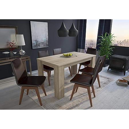 Skraut Home - Table de salle à manger et séjour 140 cm rectangulaire, couleur chêne clair, dimensions: 80 Largeur x 138 Longueur 75 cm Hauteur Jusqu'à 6 personnes