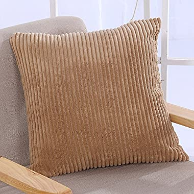 Famibay Super Soft Cushion Covers 18 x 18,Decorative Square Solid Color Pillow Covers Striped Cozy Corduroy Throw Pillow Case Covers for Couch With Invisible Zipper (Camel)